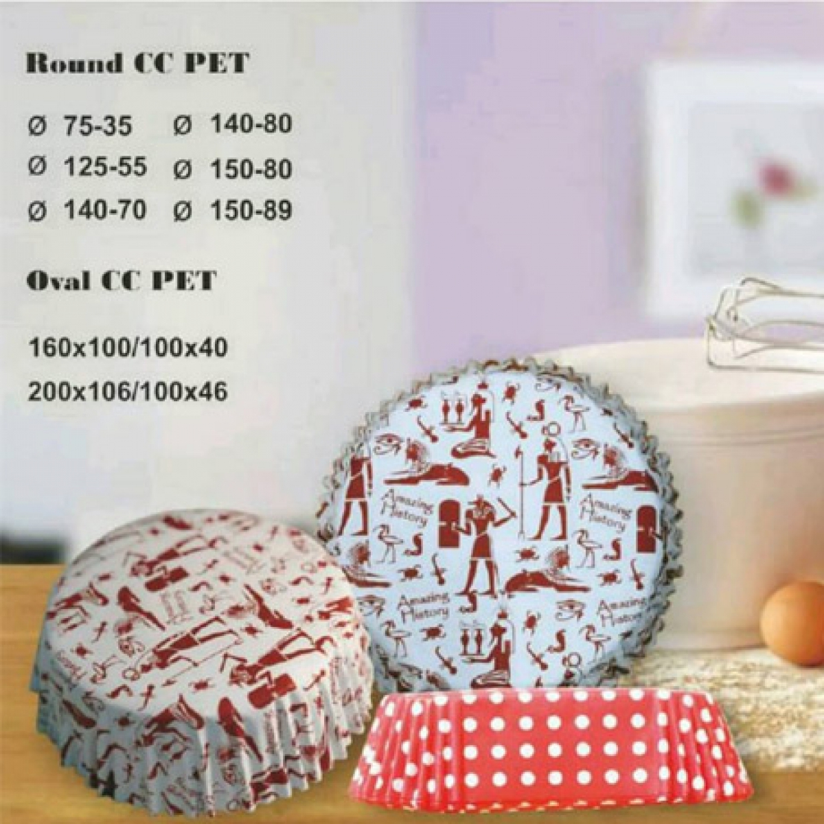 PET cup cake round & oval